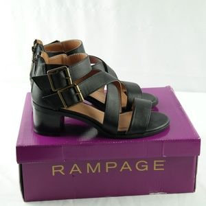 Rampage Havarti Sandals 6 Black Smooth